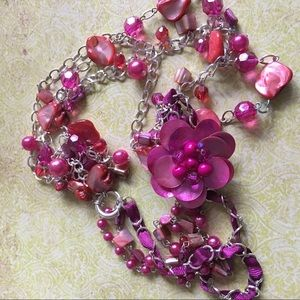 Jewelry - Pink Multistrand Acrylic Shell Beads